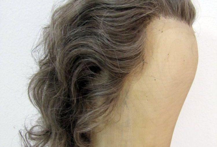 graue Damen-Herren-Echthaarperücke Koku 75